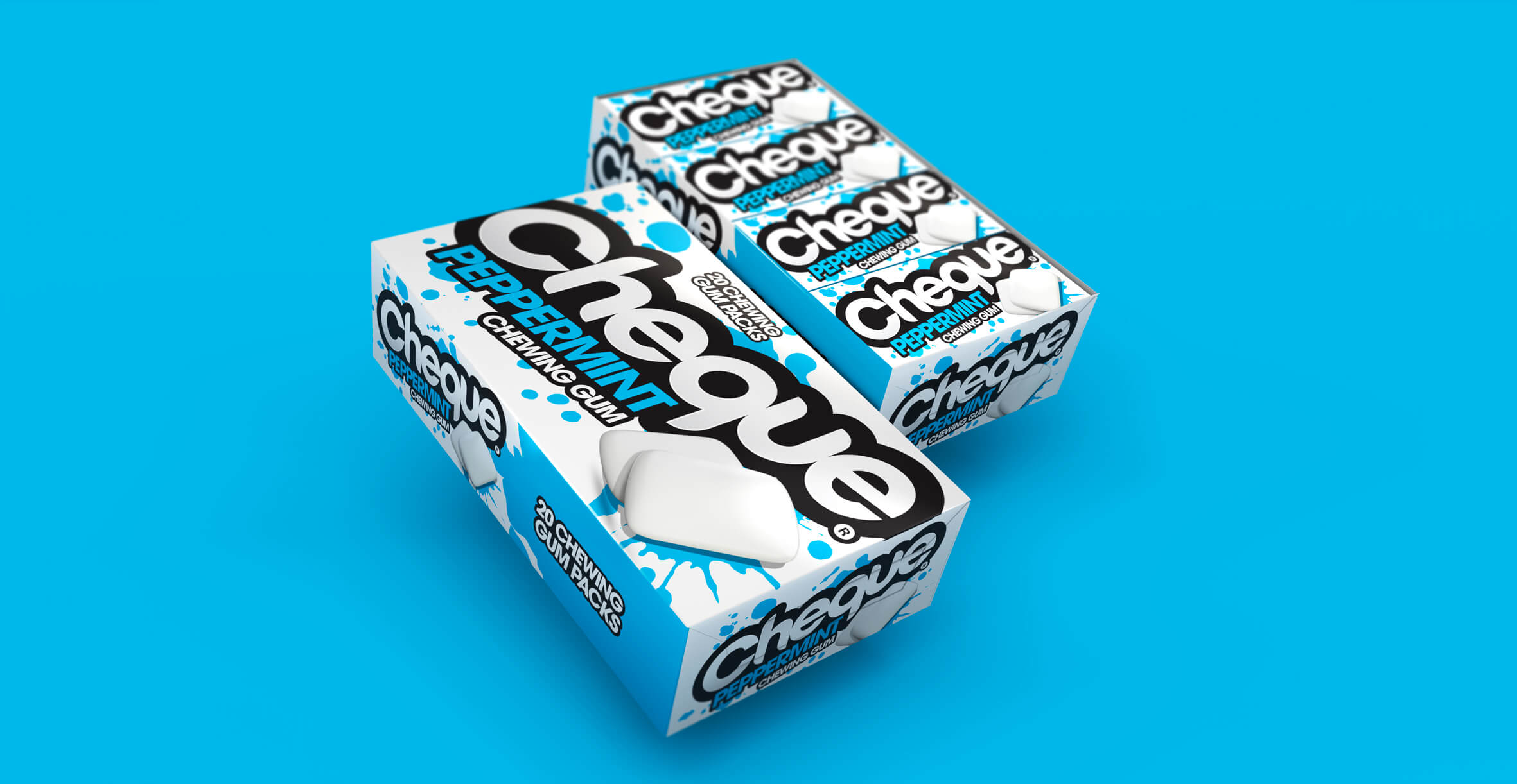 Branding and Packaging Design for Confectionary Brand Cheque Gum - Peppermint Shelf Ready Packaging