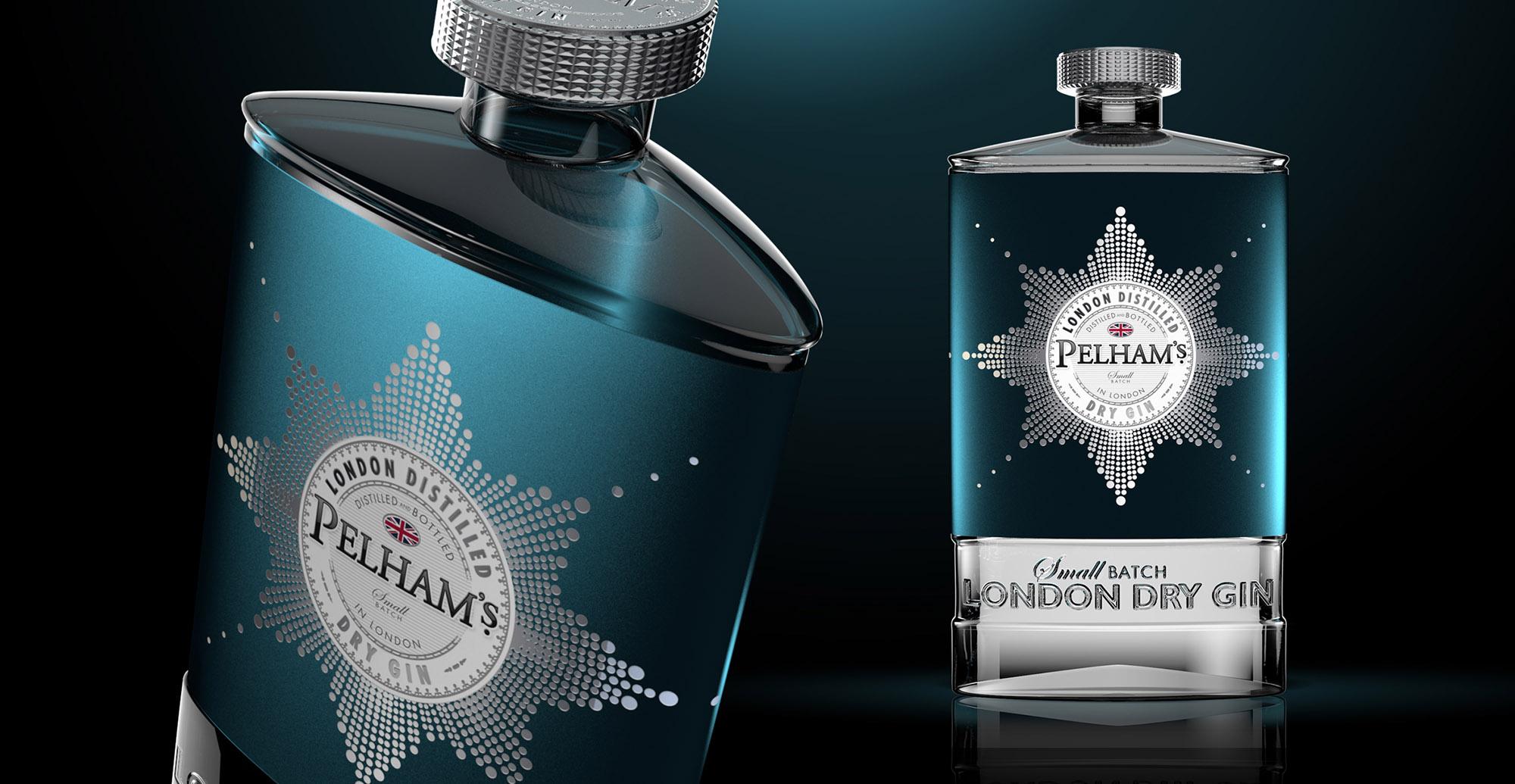Branding and Packaging Design forPremium Gin Brand Pelham's - 3D Packaging Render