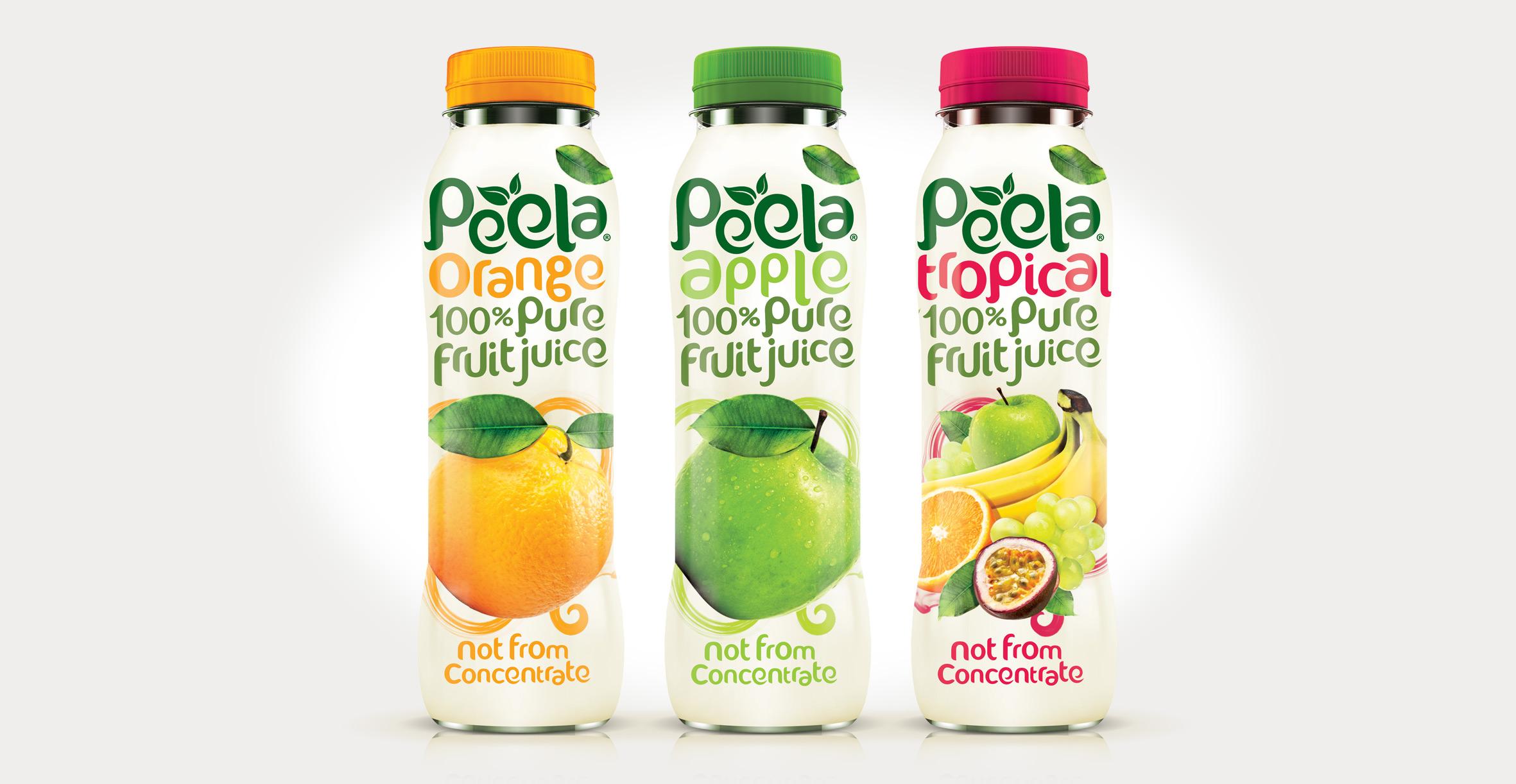 Drinks packaging design and new branding for natural juice brand Peela - Range Shot