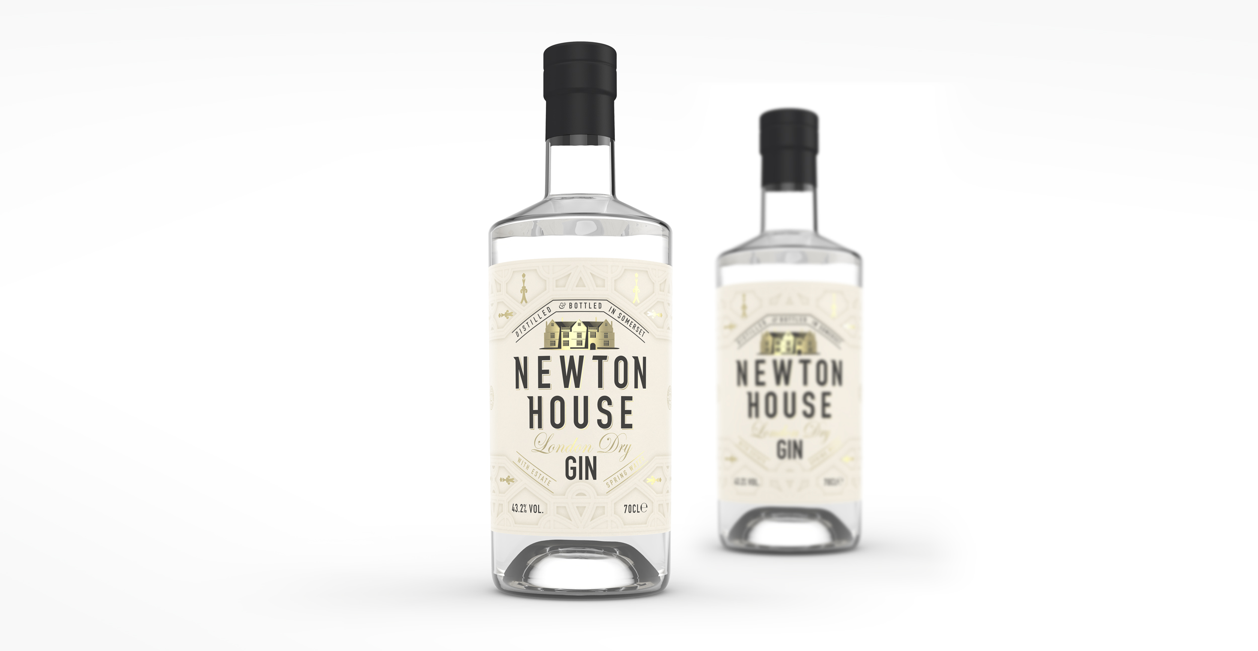 Newtong Gin Branding and Packaging Design Bottle render