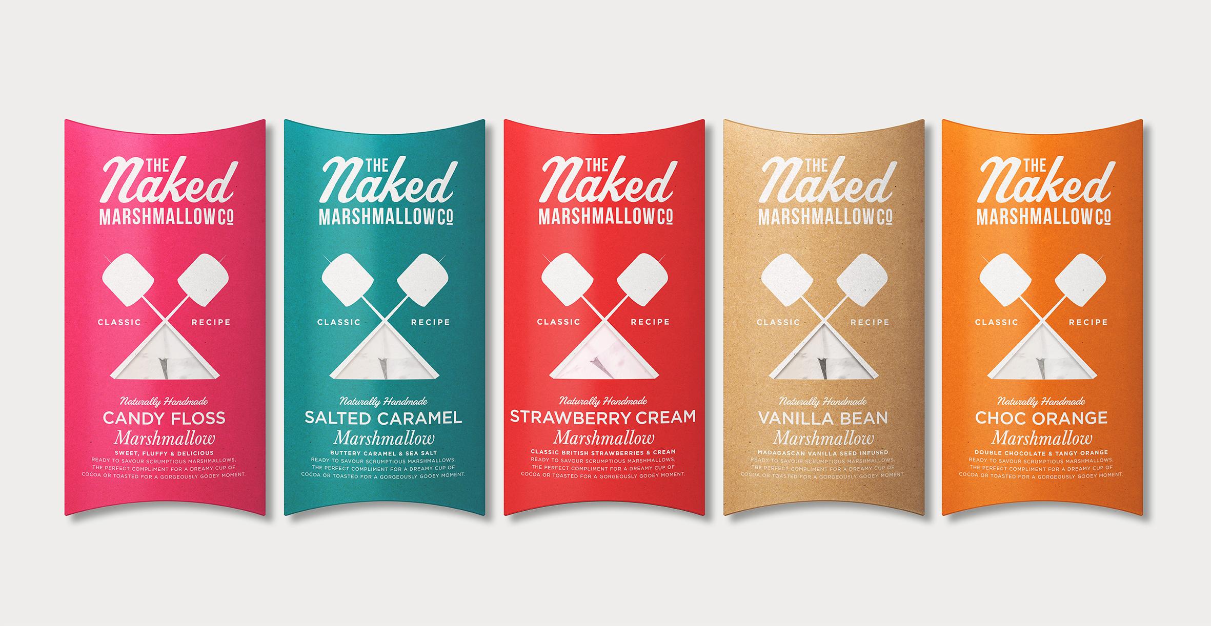 Naked Marshmallow Co. Range Packaging Design