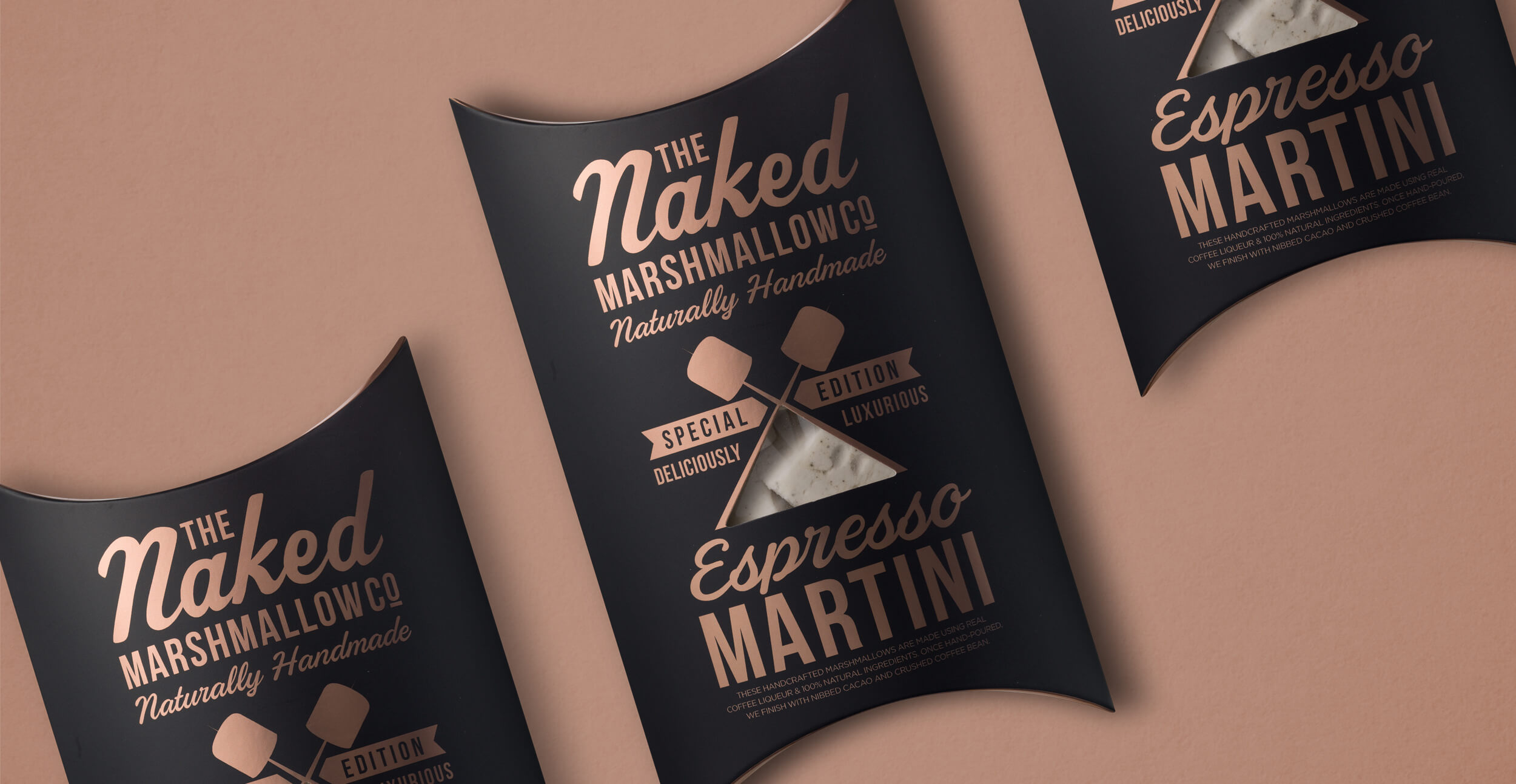 Branding and packaging design for confectionary brand The Naked Marshmallow Co by Design Happy London - Expresso Martini