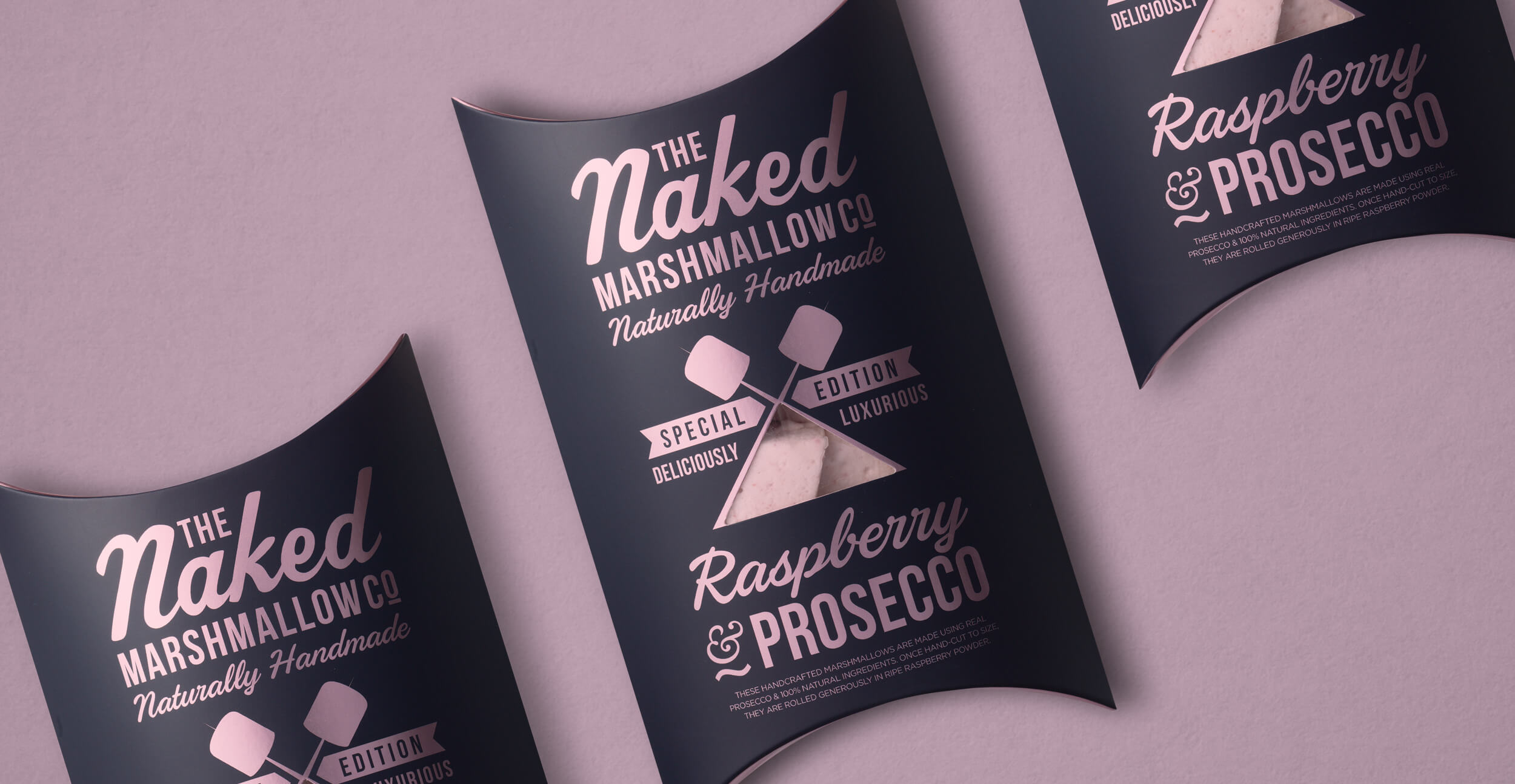 Branding and packaging design for confectionary brand The Naked Marshmallow Co by Design Happy London - Raspberry & Prosecco