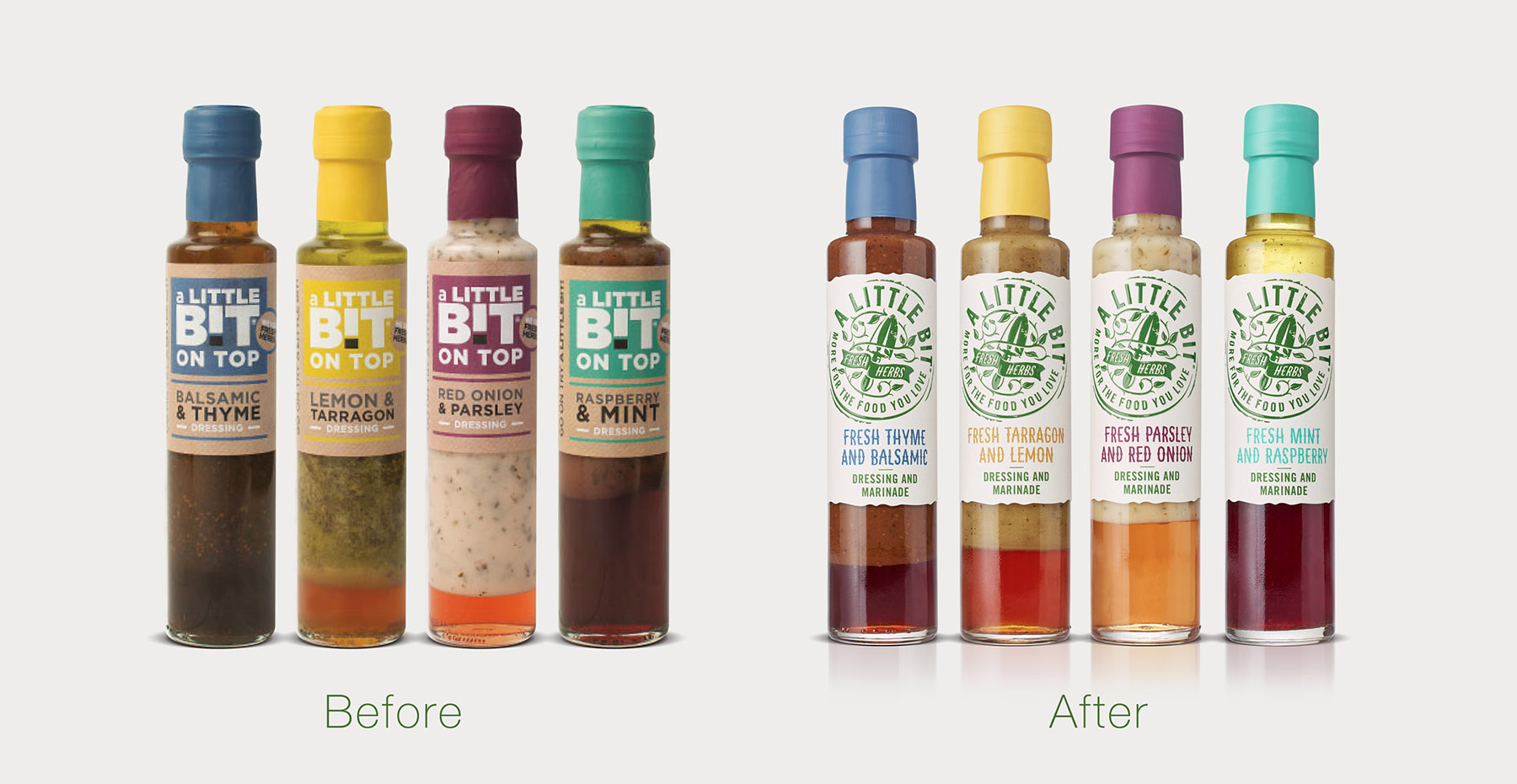 A Little Bit branding and packaging design before and after