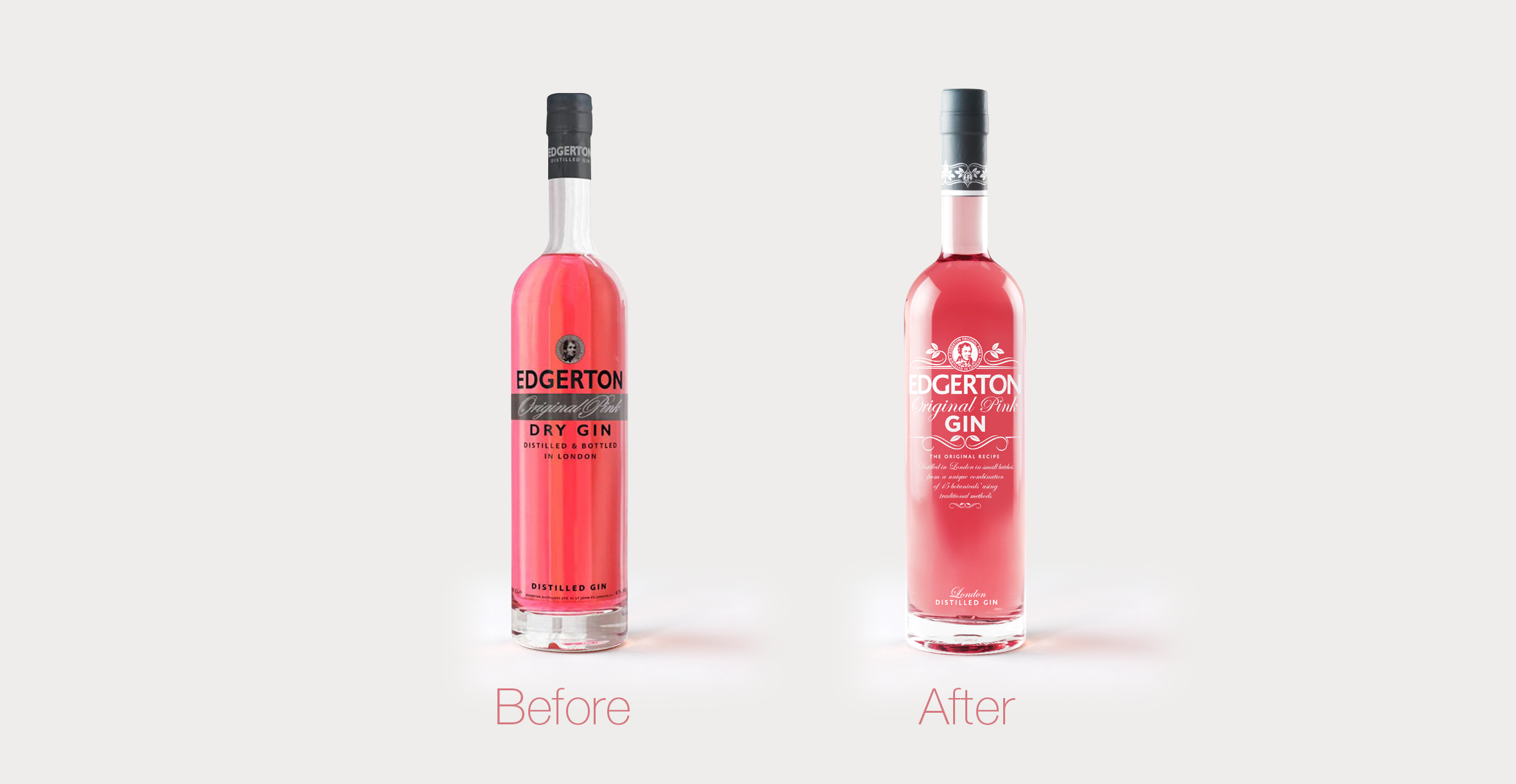 Edgerton Gin branding and packaging design before and after