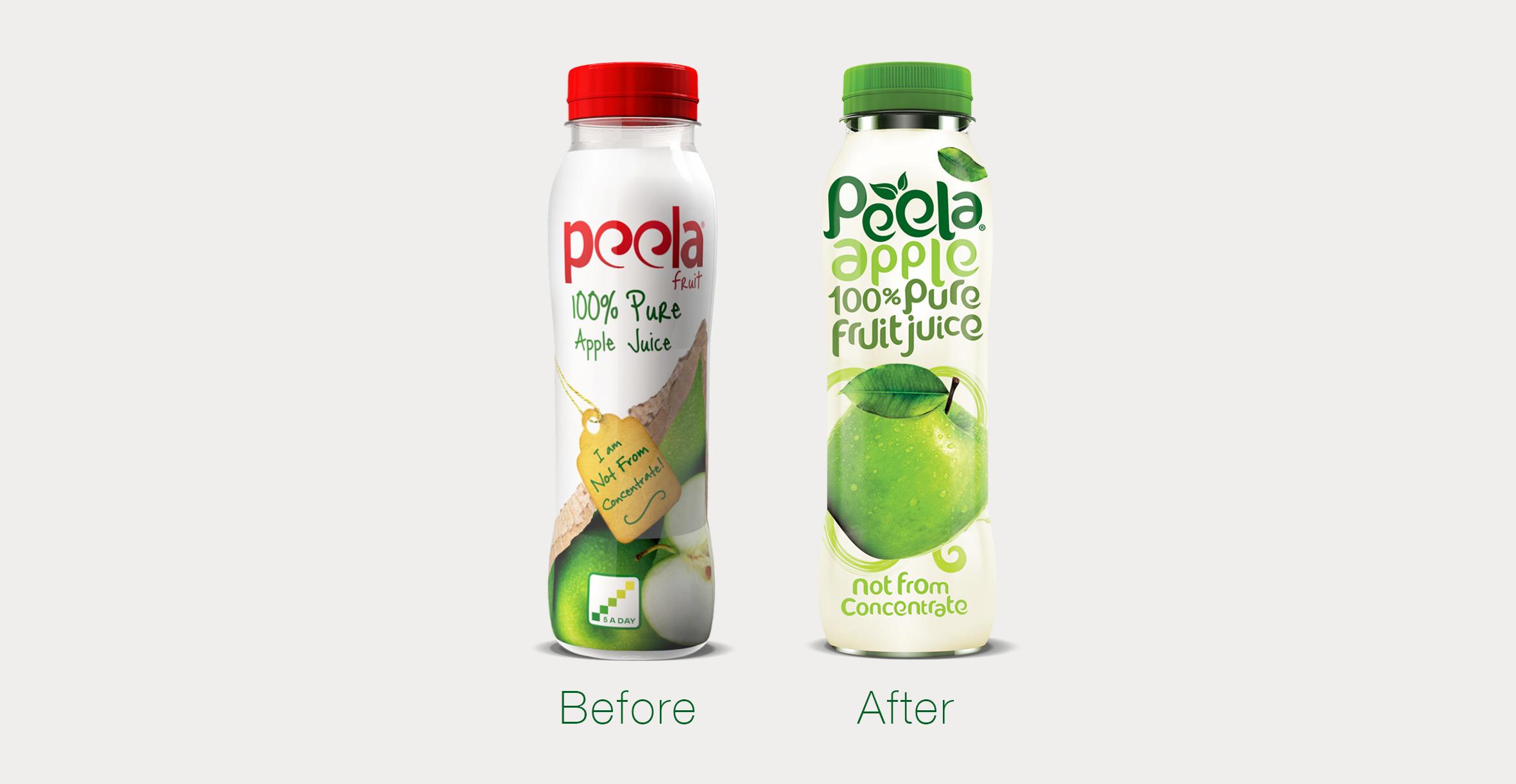 Peela Juices branding and packaging design
