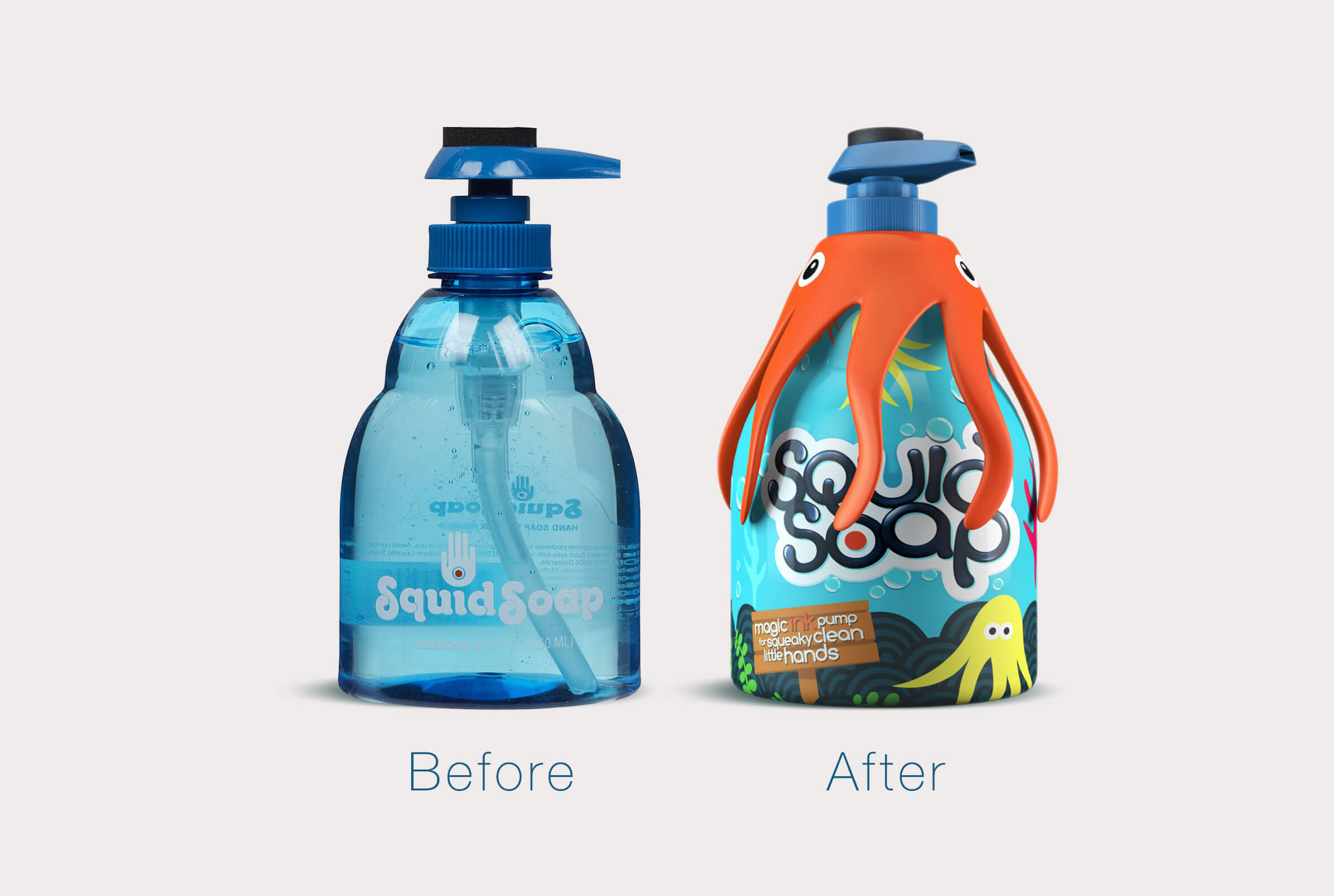 Squid Soap kids branding and packaging design