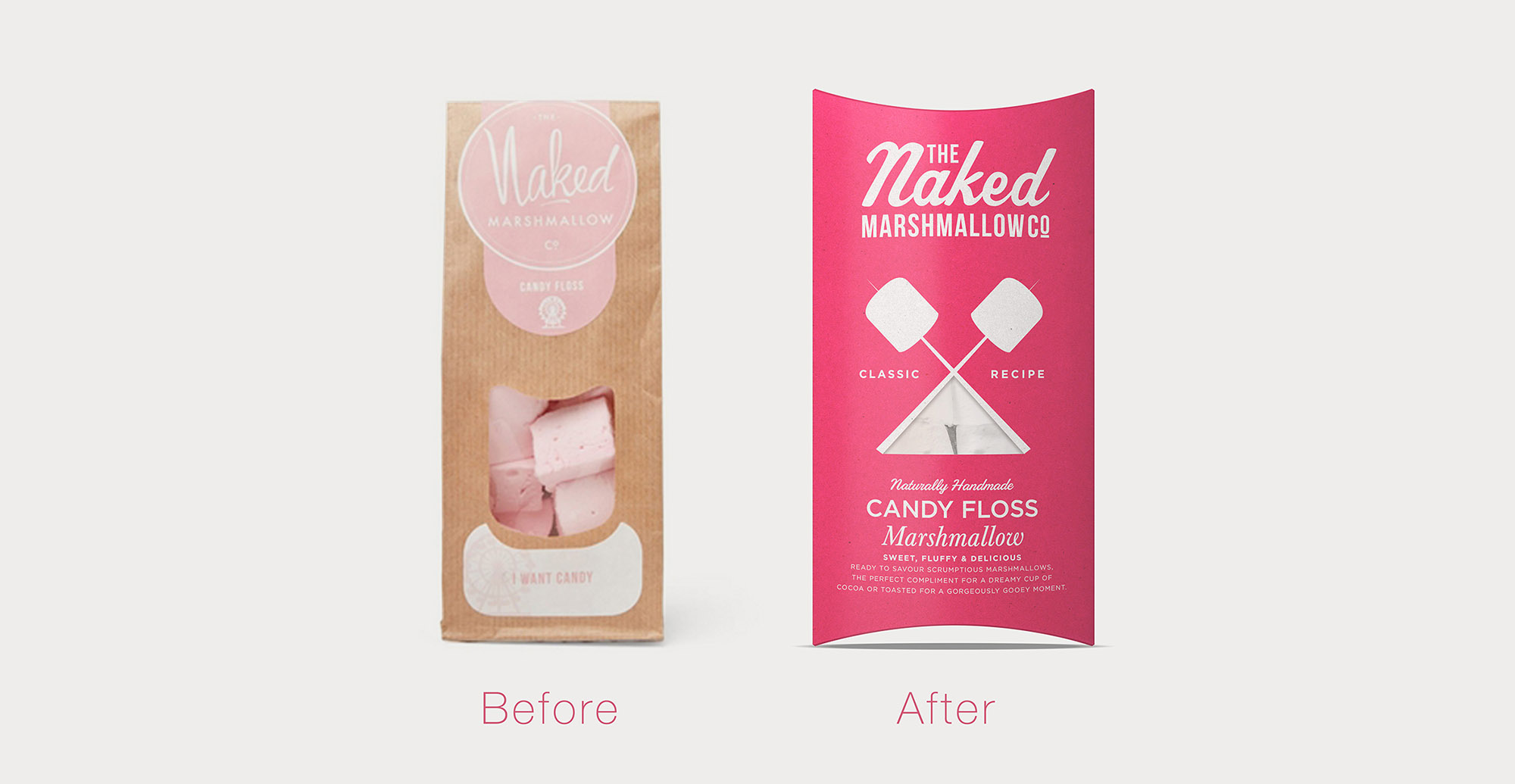 Naked Marshmallow confectionery branding and packaging design before and after