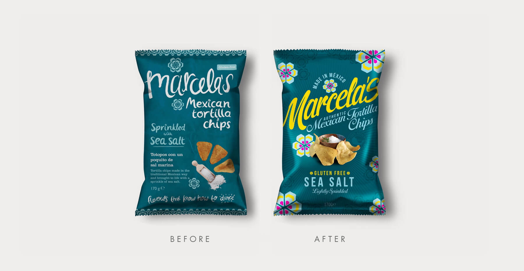 Food packaging design and brand identity for Mexican food brand Marcela by Design Happy London - Before and after packaging design