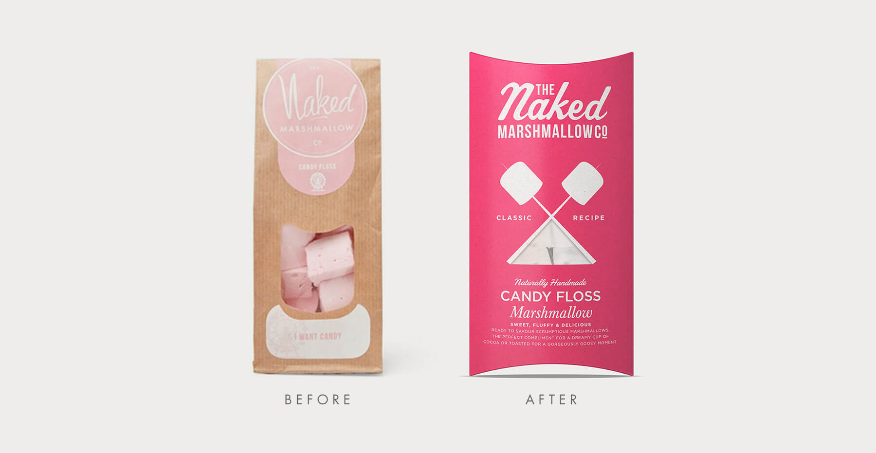Branding and packaging design for confectionary brand The Naked Marshmallow Co by Design Happy London - Before and after packaging design