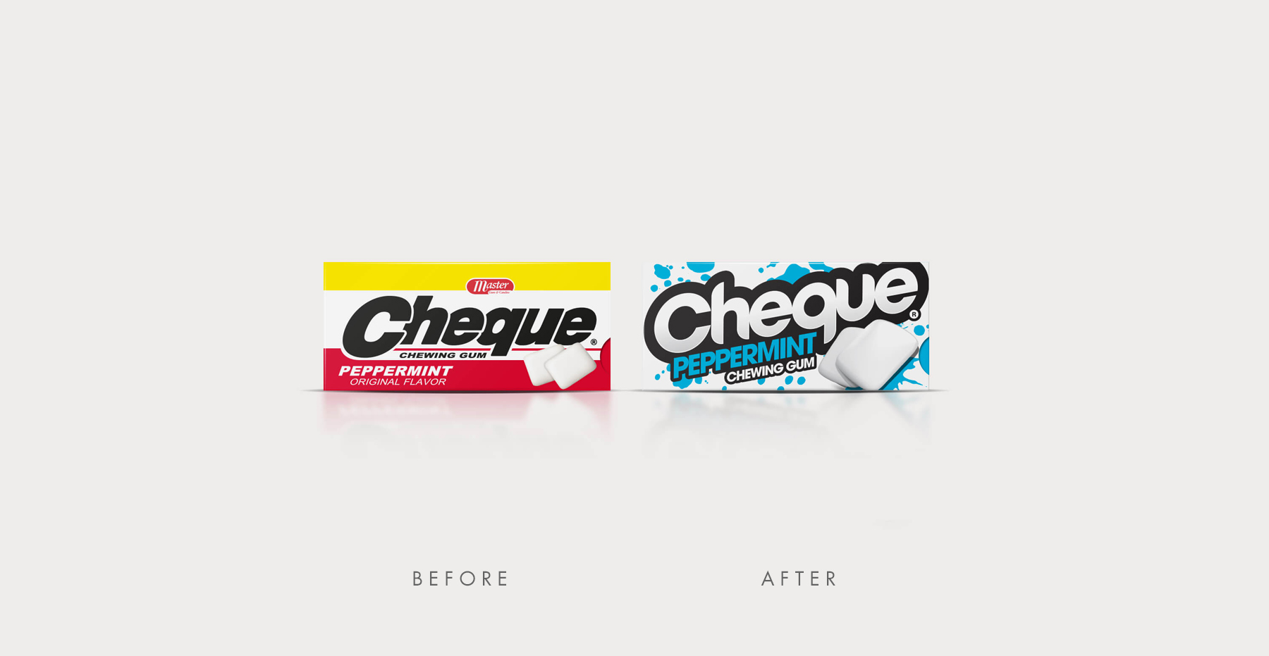 Branding and Packaging Design for Confectionary Brand Cheque Gum - Before and After