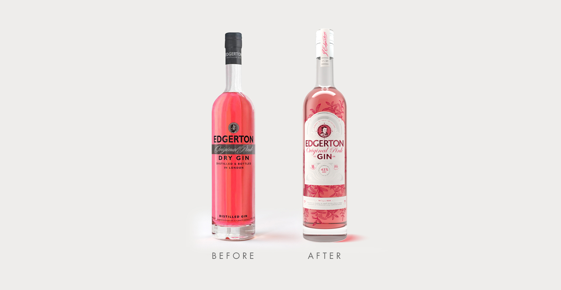 Brand identity and gin bottle label design for Edgerton Gin by Design Happy London - Before and after packaging design