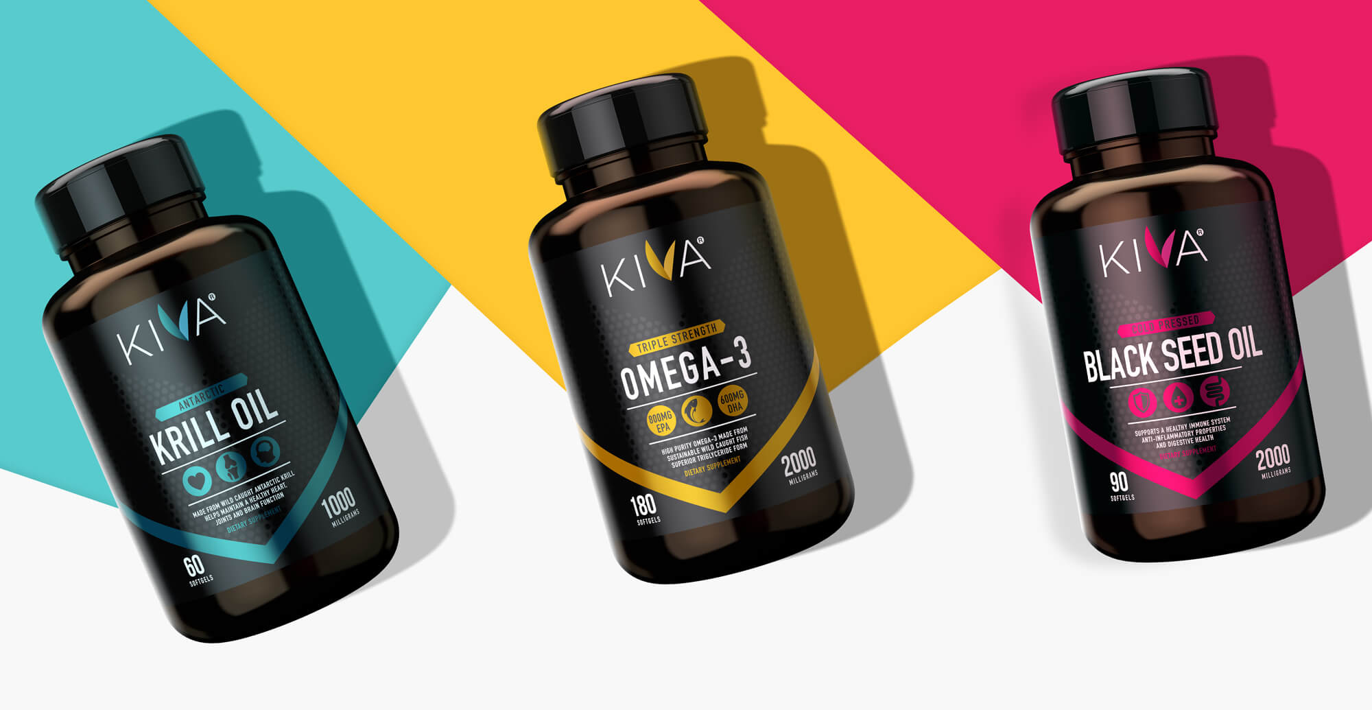 Kiva Health Branding and Packaging Design - range shot