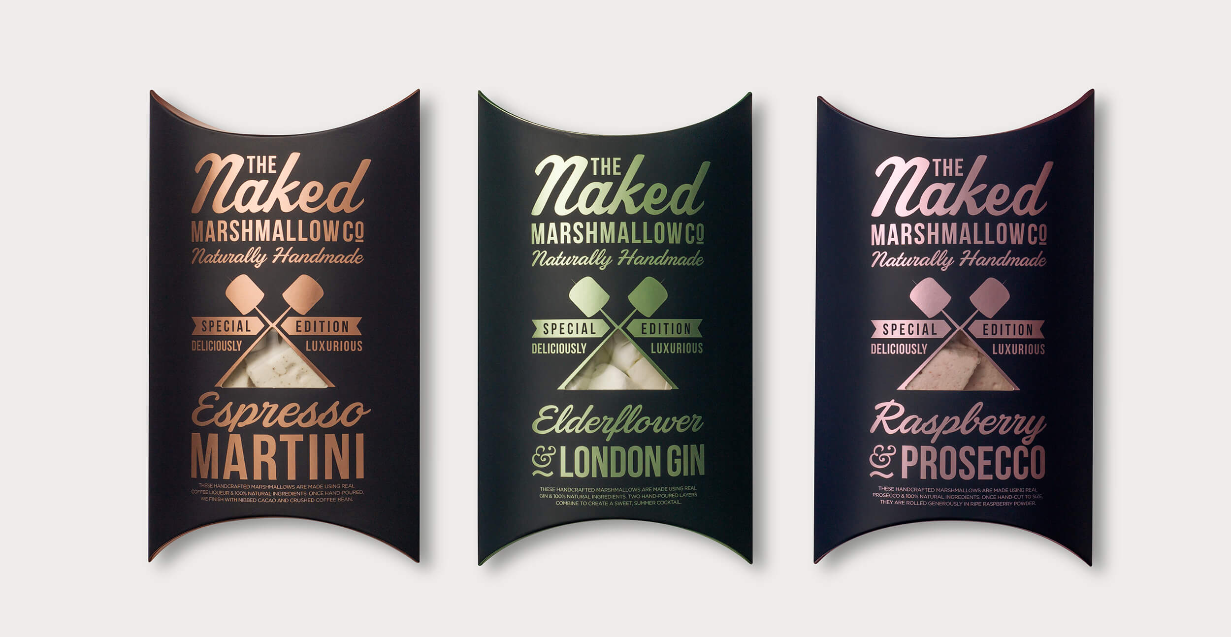 Branding and packaging design for confectionary brand The Naked Marshmallow Co by Design Happy London - Brand Mark design