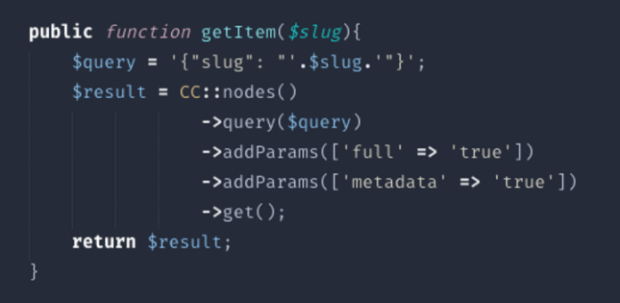 Fig. 4 – PHP method to get an article based on its slug/alias (part of the url)