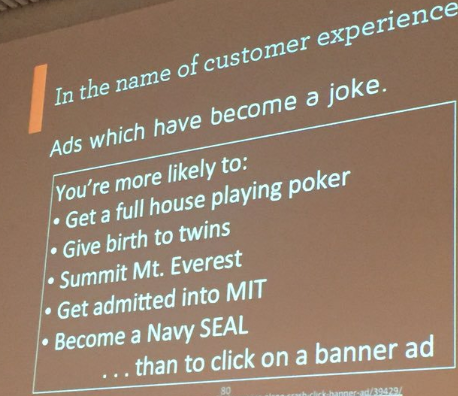 Another memorable slide from Tim Walters in his Aarhus 15 keynote on how ads have become a joke.