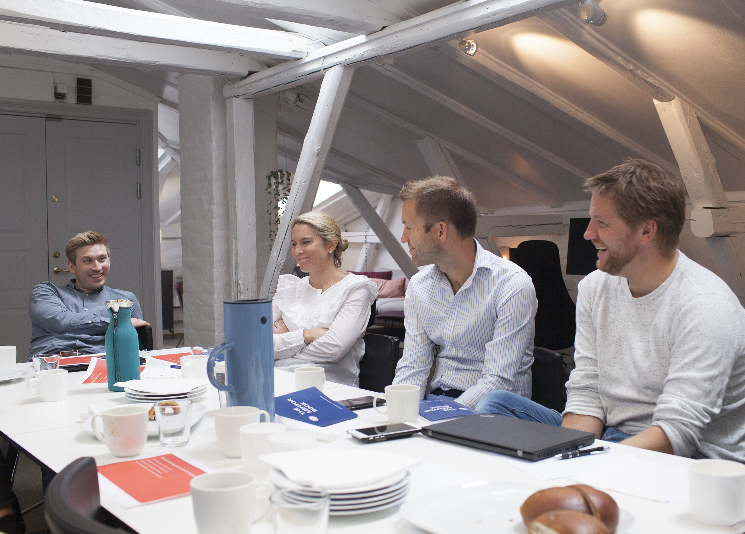 The Analytics mentors are crucial for the success of employees on their analytics journey. From left, Håkon Moltubakk, Ingri Langemyhr, Peter Lindström and André Torbjørnsen in one of the early mentor training sessions.