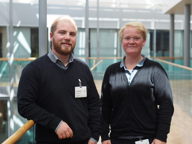 Photo:  Theis Arvesen (24) and Maren Paulsen (24) completed their degrees within the nautical sciences at the University College of Southeast Norway in 2016 and 2015.