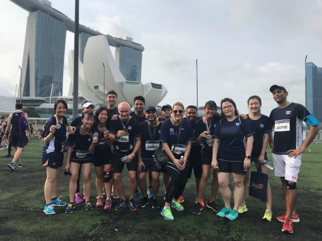 Photo: Klaveness Singapore staff, tired and happy after the SIA Charity run this weekend