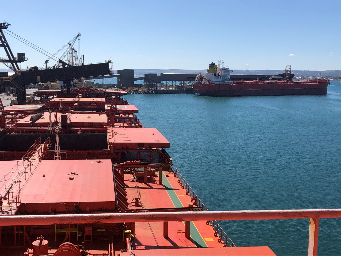 Image: First generation CABU along second generation CABU, both with inbound wet cargo and outbound iron ore cargoes from Australia.