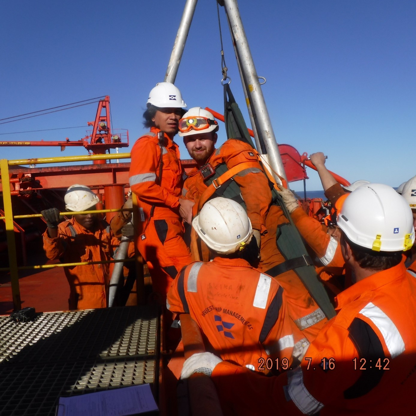 Image: From our drill on being rescued from a ballast tank
