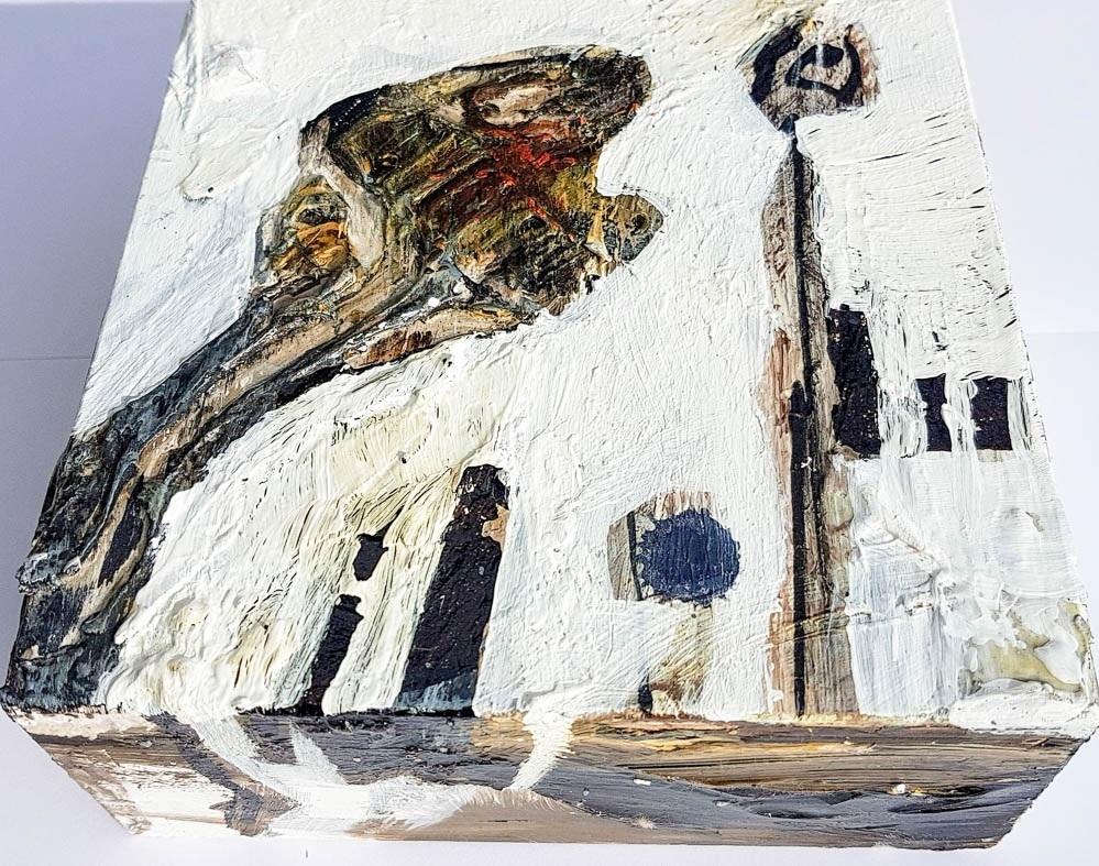 Werk 0001, unsigniertes Einzelstück auf Holzbox, Intuitive Art, 2015, B 15 cm x H 15 cm x T 6 cm  Trägermaterial: Holzbox Farbe: Bitumen / Acryl lichtbeständig und farbecht, hochwertige Abschlussfirnis / weiß,braun Bildbeschreibung: Ohne  Signatur: Ohne  Investition: 360 EUR