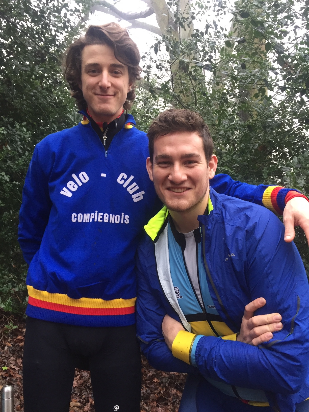 A rare photo of Owen without a hat, sporting a retro wool jersey gifted to us by the late Andy Oliver - a cycling legend in his own right. Owen is stood with our hero of 2018, Ollie Meads, who rose to the challenge and smashed it like a boss.