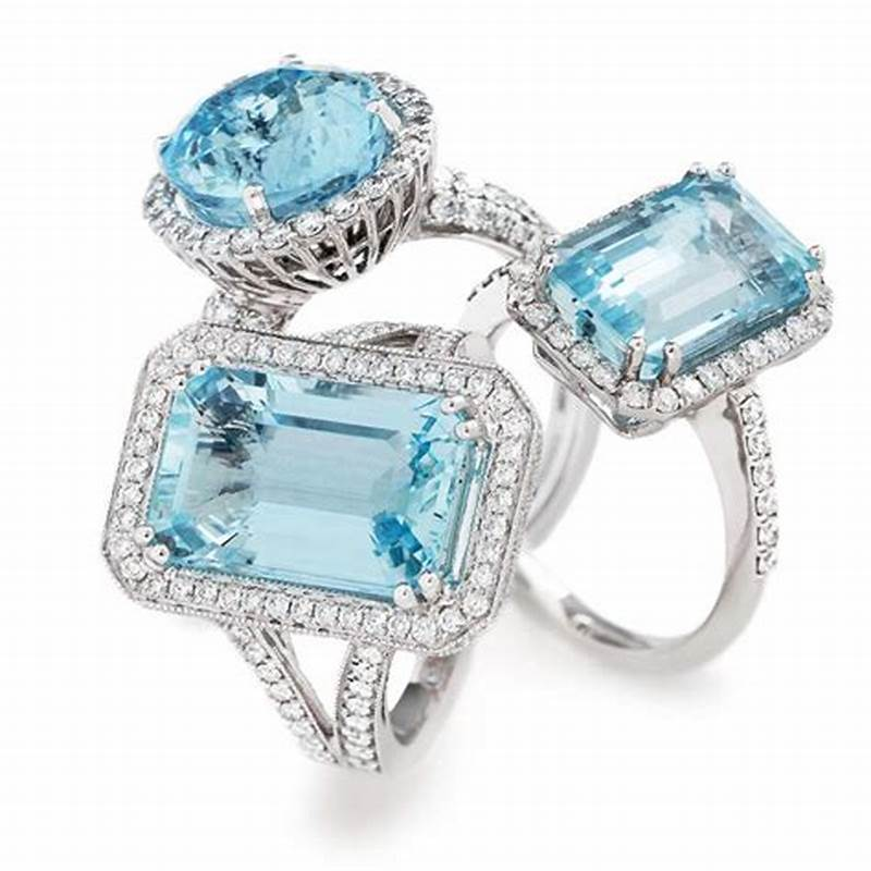 Aquamarine and Diamond Rings available to order