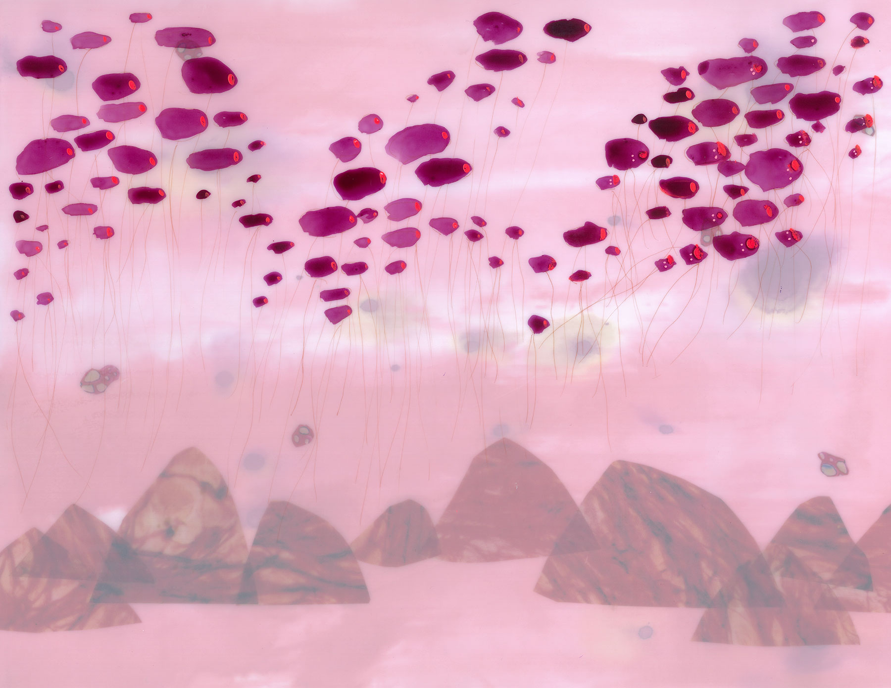 """Particles Suspended, 2009, 16"""" x 20"""" framed, ink and mixed media on duralar"""