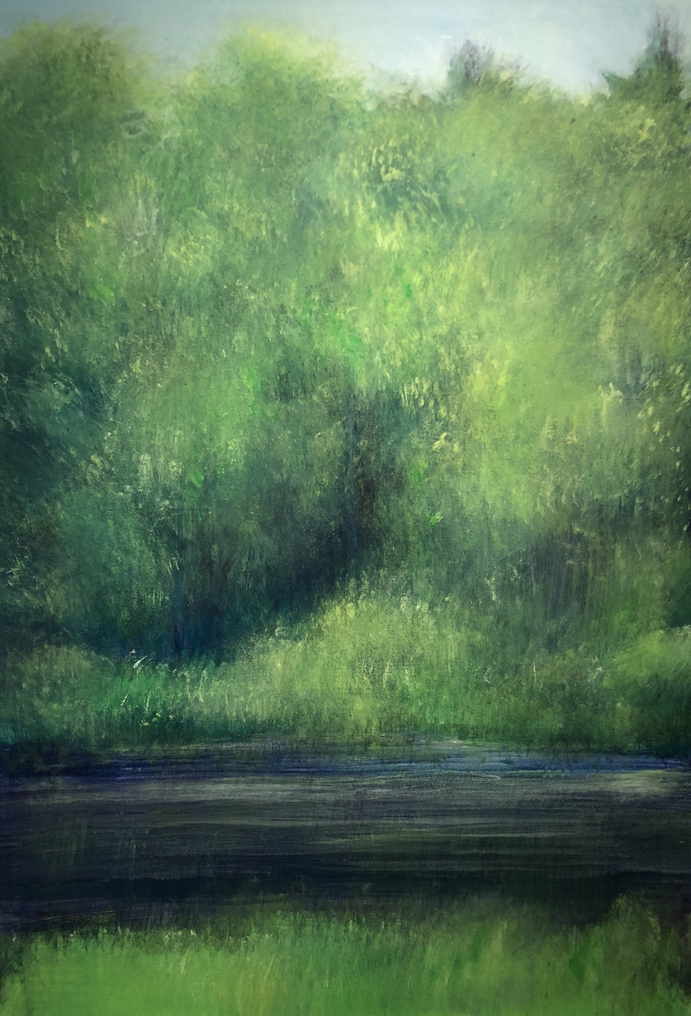 """June Woods by the River, Acrylic on paper, 29 x 20.5"""""""