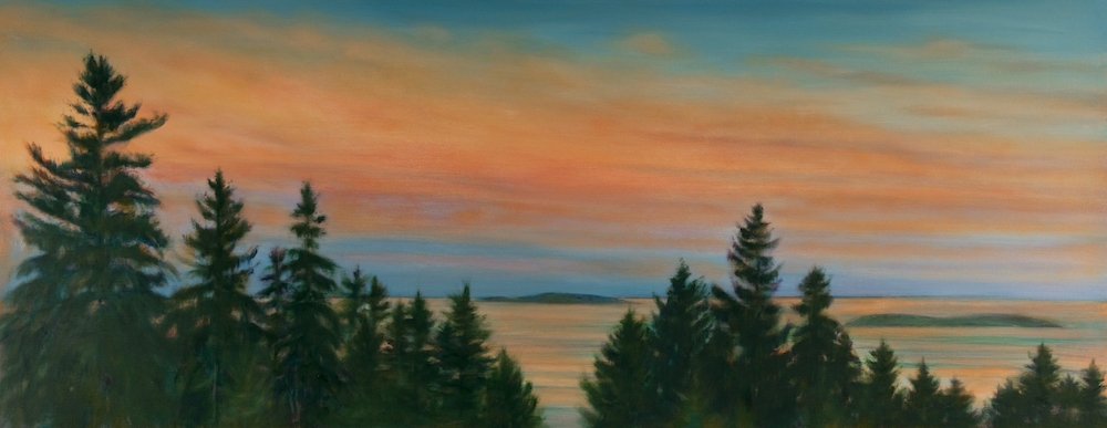 """September Sunset, Small Point, Maine, Oil on canvas, 30 x 76"""""""