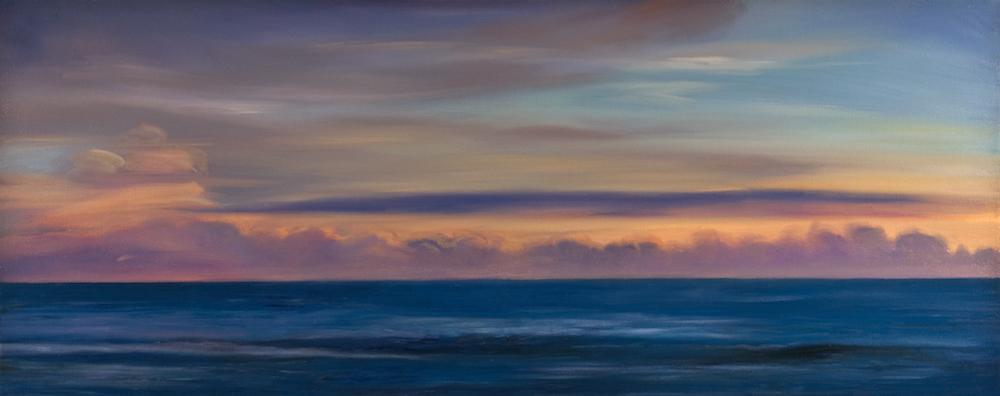 """Atlantic Dusk, Oil on canvas, 24 x 60"""""""