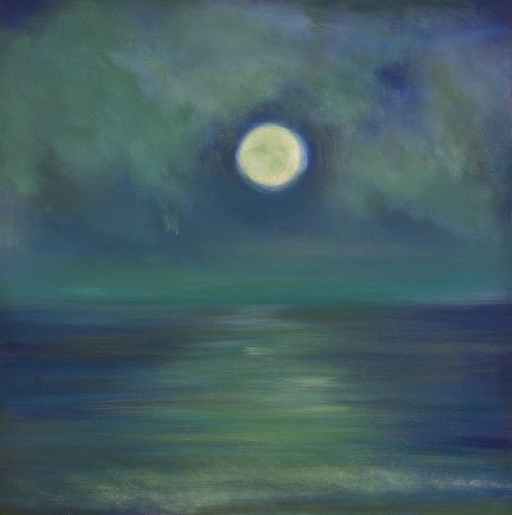 "Atlantic Moonrise, Oil on canvas, 20 x 20"""