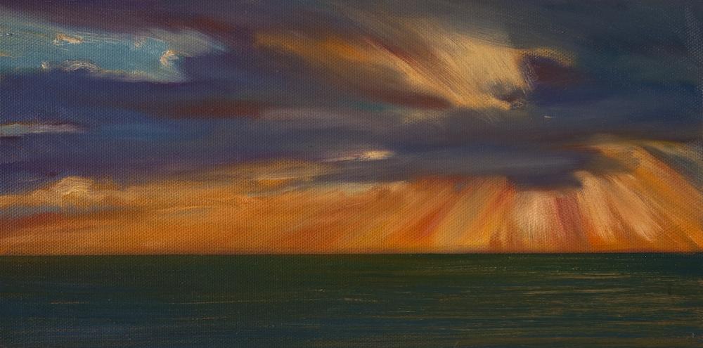 "Atlantic Sunrise Study #1, Oil on canvas, 6 x 12"""