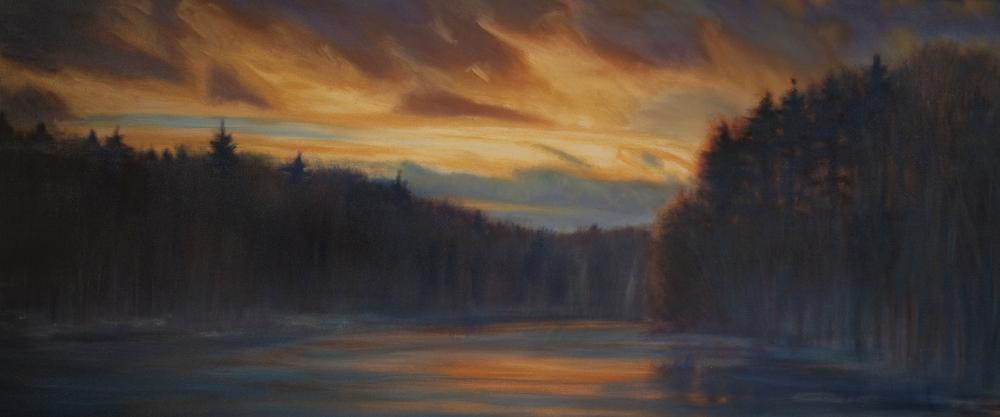 """Housatonic Winter Sunset, Oil on canvas, 30 x 72"""""""