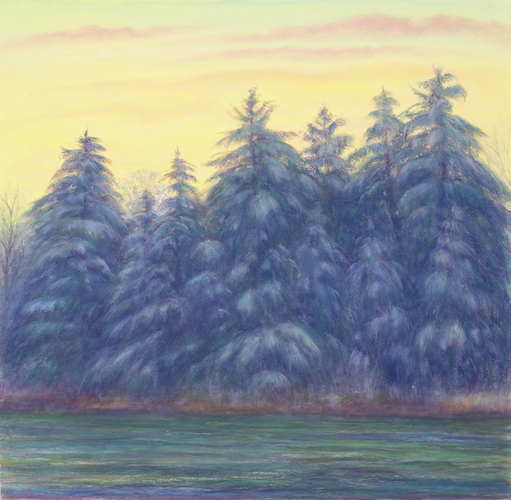 Housatonic Pines, Winter Dusk, Pastel, 37 1/4 x 38 1/4""
