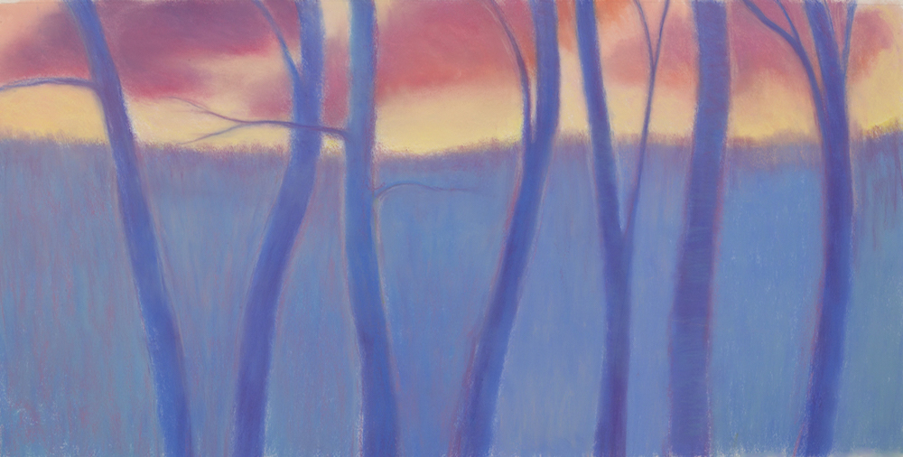 Winter Woods, Sunset (Dreamscape), Pastel, 25 1/2 x 50 1/2""