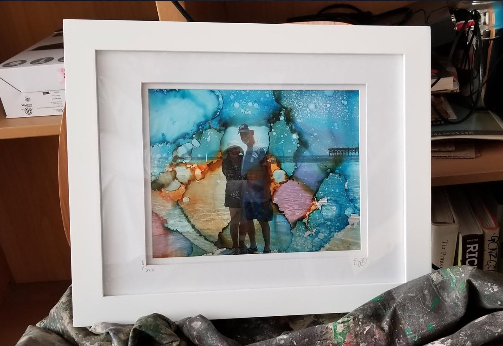 Anniversary photography/ink commission. This couple collected water while on their trip and sent it to me, along with their favorite picture, for their special commission.