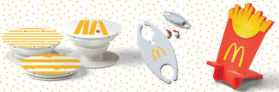 Fun tech items for a famous fast food restaurant address a young demographic and resonate with a fun brand image.