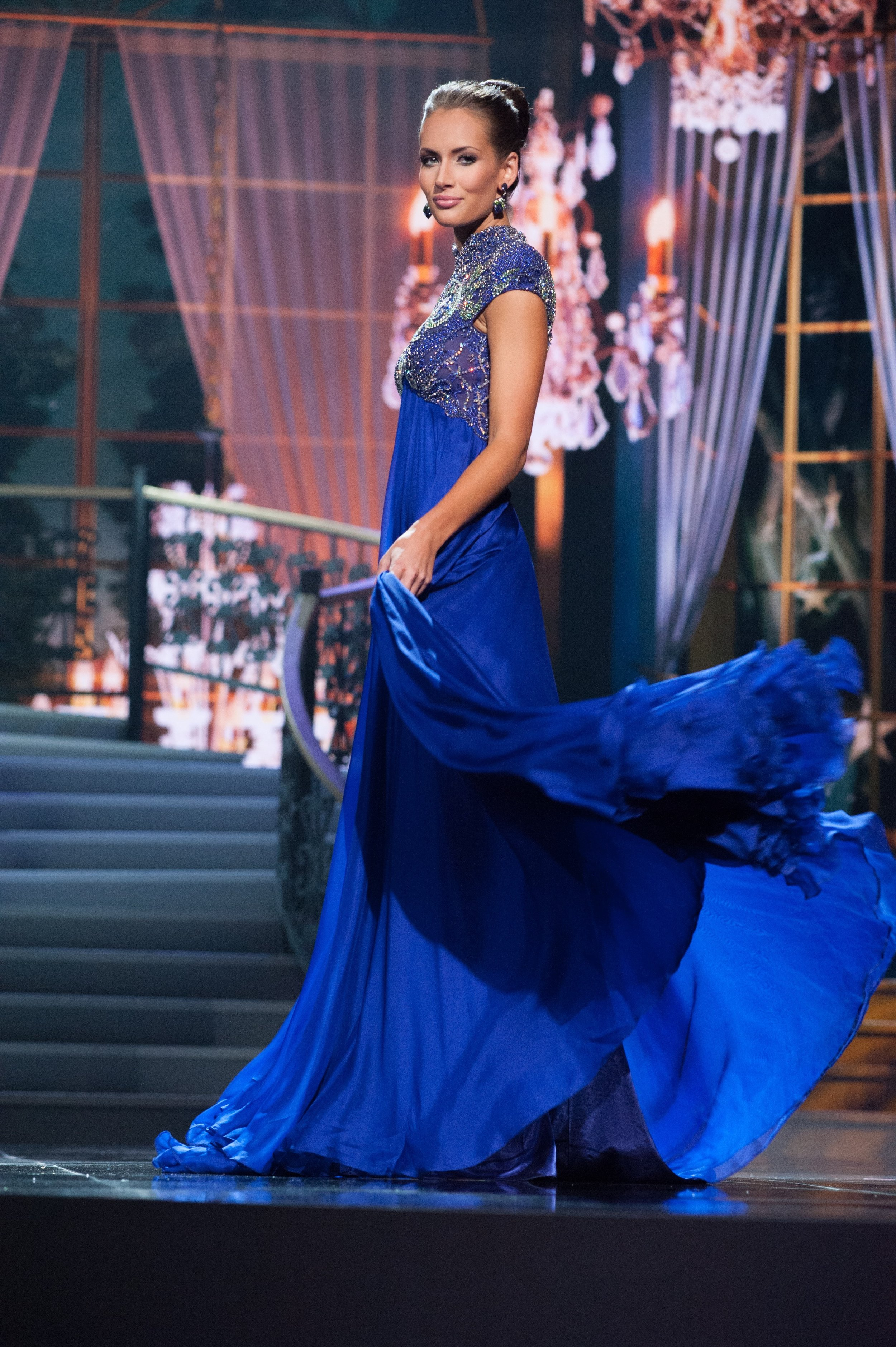 Miss Louisiana USA 2014 Brittany Guidry competing at the Miss USA Top 10 competition in Evening Gown.