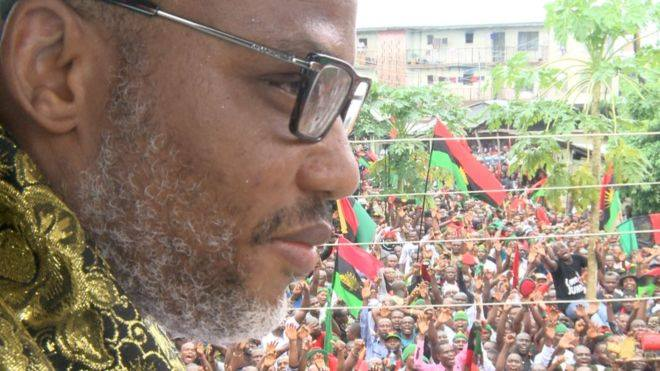 Kanu giving a speech at a Biafra rally