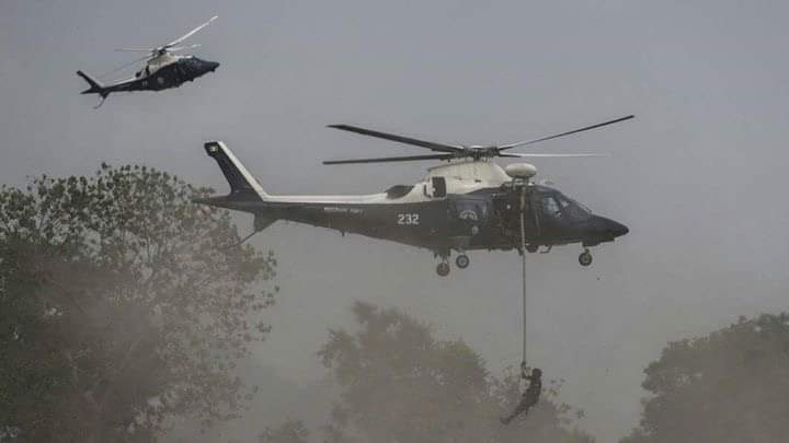 Photo of 2 of the helicopters, captured by a Biafran on site