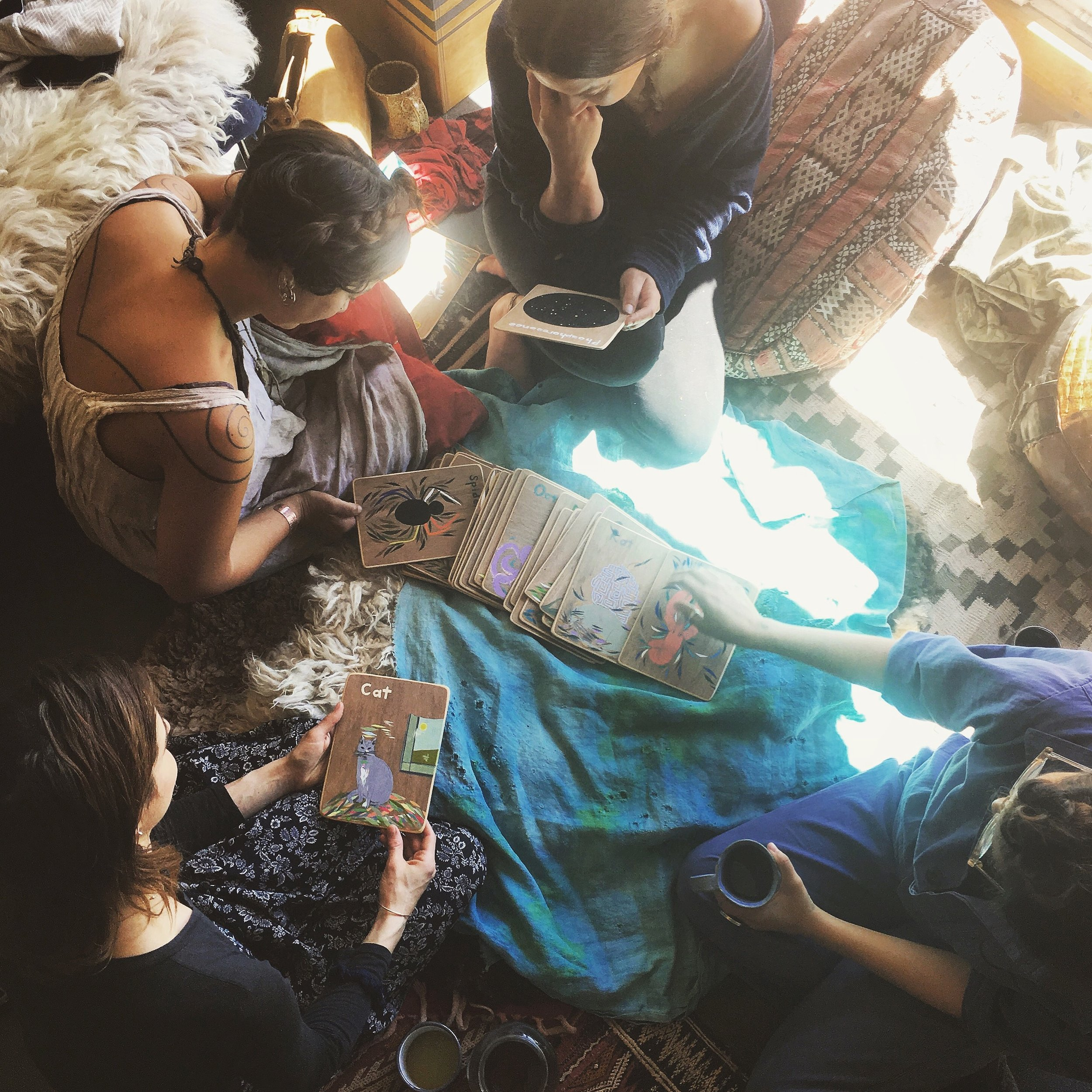 Morning moments drawing Animal Medicine Cards with friends. photo by Adriana Atema