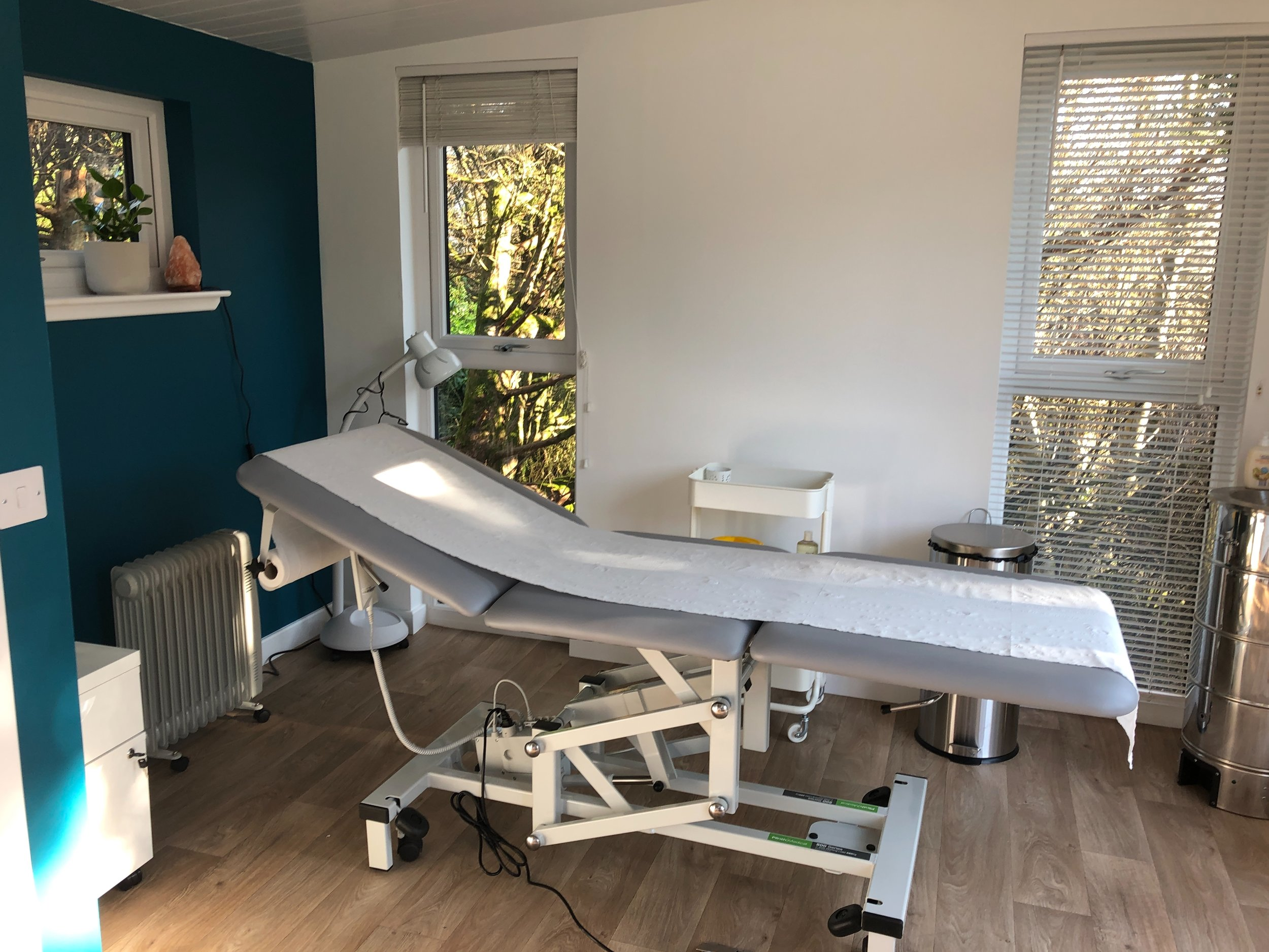 Acupuncture treatment room in Moffat with views