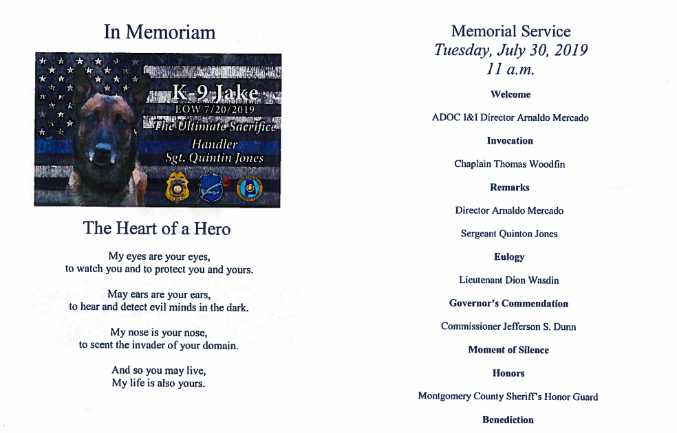 A copy of one of the printed programs for the memorial service.