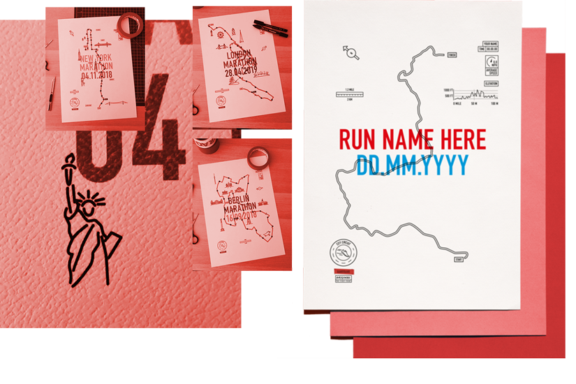 Racetrace maps feature your name, time and most memorable sights along your race route -