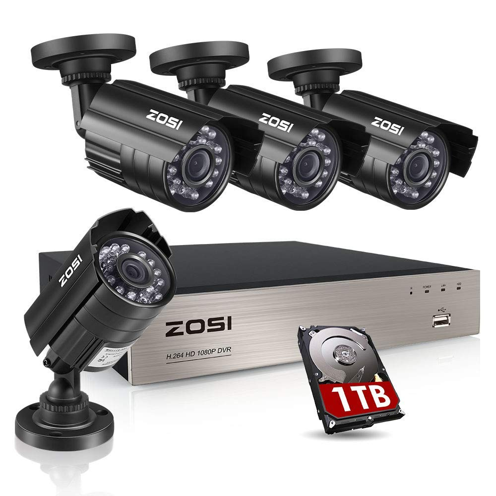ZOSI 8CH Security Camera System HD-TVI Full 1080P Video DVR Recorder with 4X HD 1920TVL 1080P Indoor Outdoor Weatherproof CCTV Cameras 1TB Hard Drive,Motion Alert, Smartphone, PC Easy Remote Access. $179.99 on Amazon.
