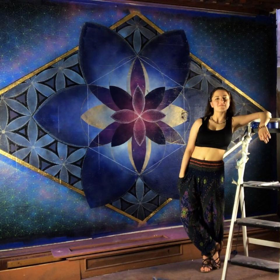 Artist:Rachel Walters - Rachel is a musician, outdoors enthusiast and spiritual practitioner. Her artworks have consisted of large scale murals and paintings for the home. You can see some of her work in the flesh at Shanteel Yoga Sanctuary in Sellersville, PA. Her amazing use of color and spiritual geometry will leave you intrigued for hours in the depth of her work. See more of her work on her instagram at @no_thingbutlove