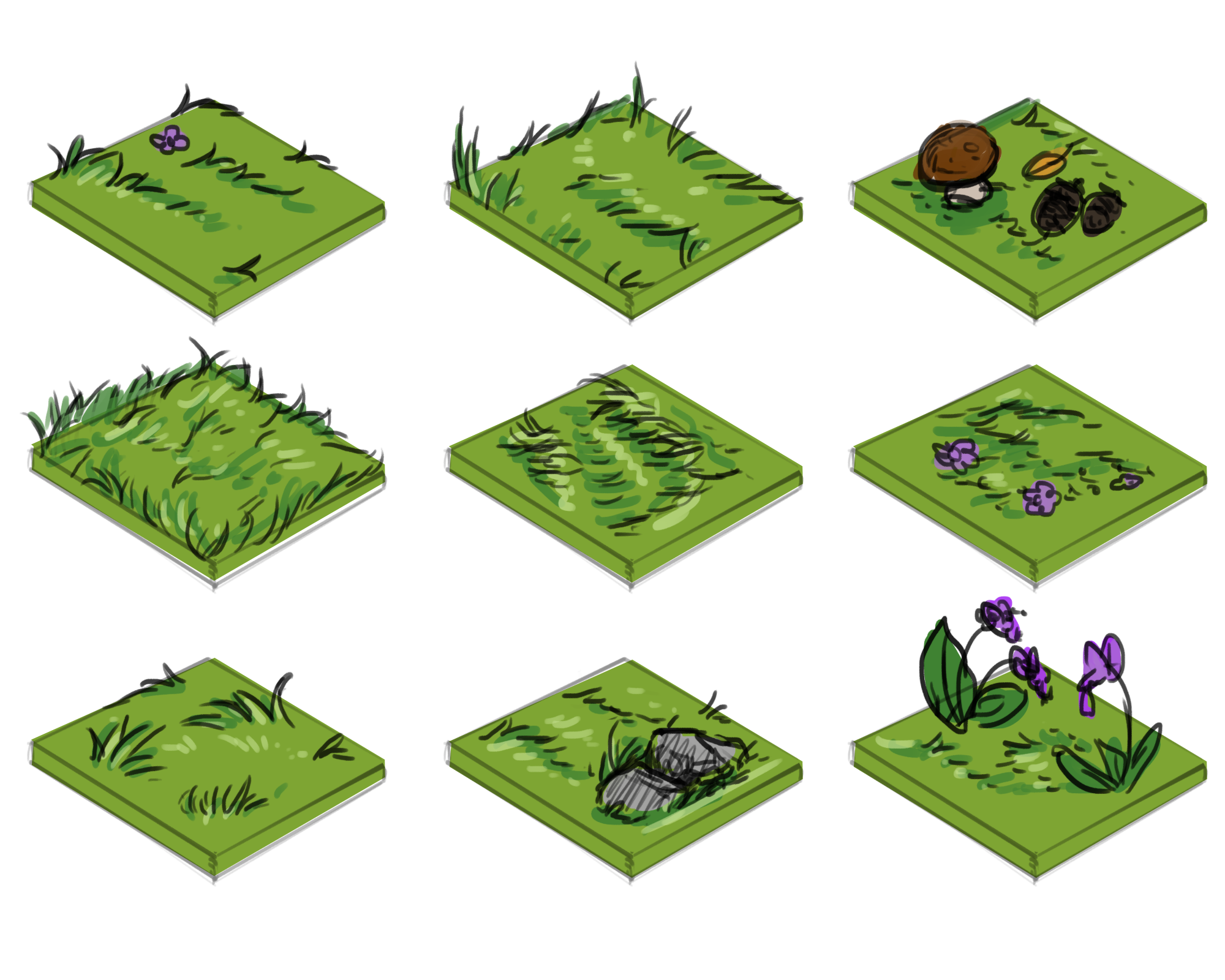 Early concept   Different types of grass tiles