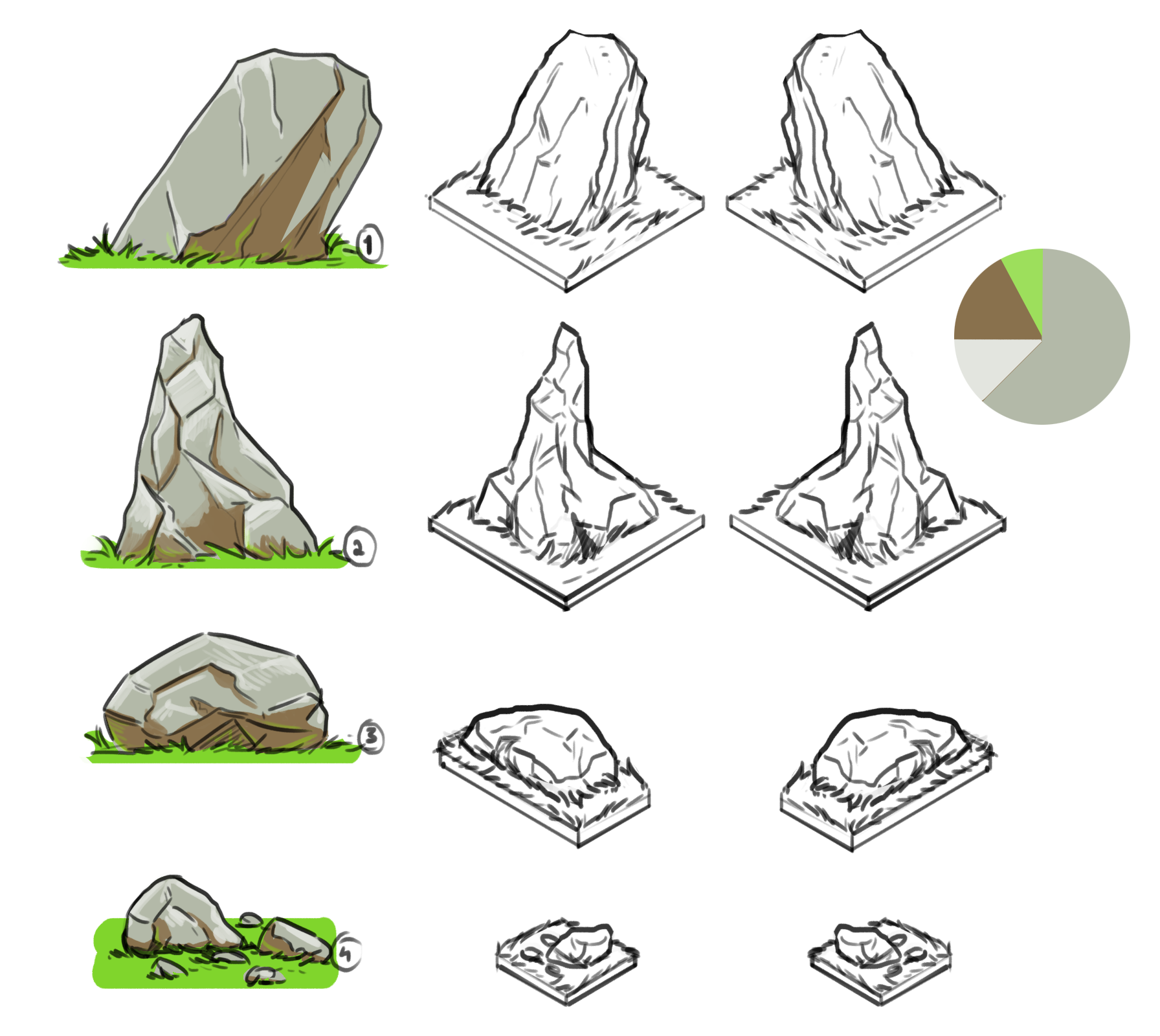 Early concept   Various shapes of rocks